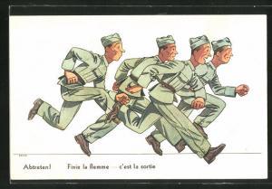 Künstler-AK sign. Seilera: Abtreten!, Finie la flemme, c`est la sortie, Soldaten in Uniformen beim Lauf