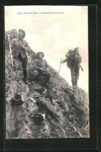 AK Dans les Alpes, Chasseurs de Chamois