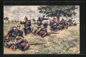 Künstler-AK Anton Hoffmann - München: deutsche Soldaten mit Pickelhaube schiessen aus Stellung