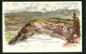 Lithographie Gurten, Hotel auf dem Gurten, Alpen-Panorama