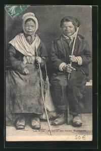AK Les Alpes, Atrophiés des hautes Montagnes, Mann und Frau mit Kropf