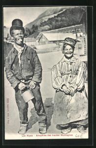 AK Les Alpes, Atrophiés des hautes Montagnes, Kleingewachsenes Paar, Mann mit Kropf