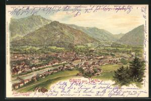 Künstler-Lithographie Erwin Spindler: Ischl, Totale des Ortes