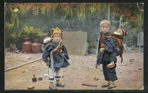 AK China, Rheinische Mission, Chinesenmädchen mit ihren kleinen Geschwistern
