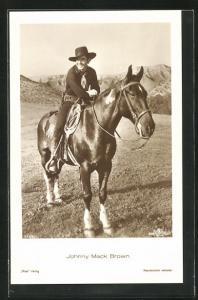 AK Schauspieler Jonny Mack Brown mit Cowboyhut auf seinem Pferd