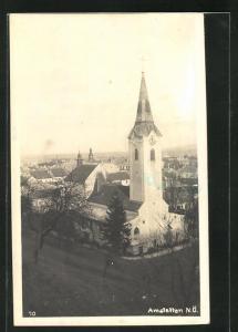 AK Amstetten, Ortsansicht mit Blick auf Kirche und Häuser