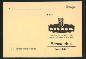 AK Schwechat, Fiat Neckam, Hauptplatz 3, Geschäftsantwortpostkarte