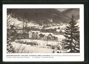 AK Ottertal, Gastwirtschaft Thalhof, Häuser und Tal unter Schneedecke