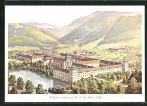 AK Lilienfeld, Zisterziensterstift mit Wasserspiegelungen und Landschaft