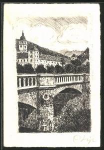 AK Lilienfeld, Blick auf Steinbrücke und Kloster