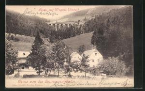 AK Semmering, Ortsansicht mit Wagner-Viadukt