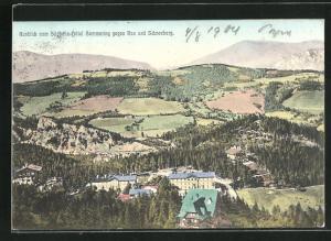 AK Semmering, Blick vom Südbahn-Hotel, Ortschaft gegen Rax und Schneeberg
