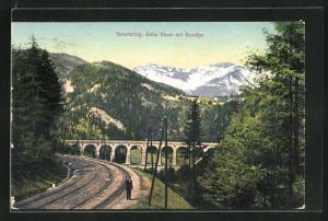 AK Semmering, Kalte Rinne mit Raxalpe, Eisenbahntrasse & Viadukt