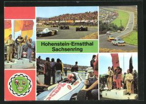 AK Hohenstein-Ernstthal, Sachsenring-Autorennen, Sieger Spezialtourenwagen A 21 bis 600 ccm in der Queckenbergkurve