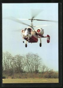 AK Hubschrauber der Interflug kurz vor der Landung