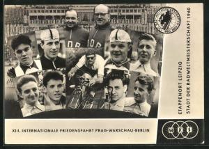 AK XIII. Internationale Friedensfahrt Prag-Warschau-Berlin 1960, Etappenort Leipzig, Radsportler