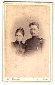 Fotografie Karl Meckes, Ulm, Portrait Leutnant und Gattin