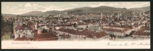 Klapp-AK St. Gallen, Panoramablick über die Dächer der Stadt