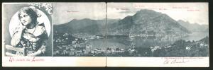 Klapp-AK Lugano, Stadt-Panorama mit Mte. Tamaro und Mte. Bré, Schöne Schweizerin in Tracht