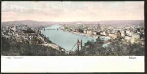 Klapp-AK Budapest, Teilansicht der Stadt mit Brücken über die Donau