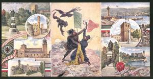 Klapp-AK Trieste, Chiesa di San Giusto, Porto, Italienischer und österreichischer Soldat beim Kampf