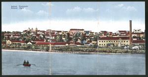 Klapp-AK Belgrad, Blick von der Donau auf einen Teil der Stadt