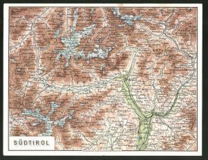 Klapp-AK Sulden, Landkarte von Südtirol, rückseitig Teilansicht vom Ort