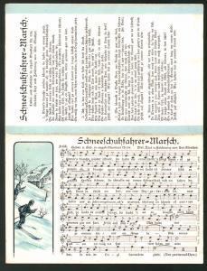 Klapp-Lied-AK Anton Günther Nr. 53a: Lied in erzgeb. Mundart Schneeschuhfahrer-Marsch