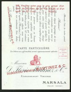 Klapp-AK Marsala, Weinkellerei D. Florio Martinez & Cie.
