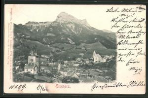 Relief-AK Eisenerz, Panoramablick auf die Ortschaft