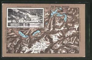 Relief-AK Vitznau, Hotel Rigibahn, Landkarte vom Berner Oberland