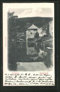 Relief-AK Radstadt, Blick zum Teichthurm