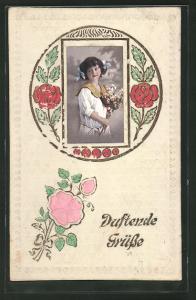 Duft-AK Duftende Grüsse, Mädchen mit Blumenstrauss