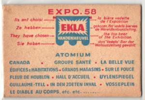 Bierdeckel-AK Brüssel, Ausstellung Expo 1958, Reklame für Ekla Bier