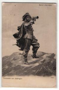 Relief-AK Behüt Dich Gott!, Trompeter von Säckingen auf einem Berggipfel