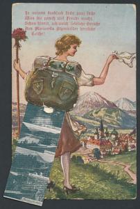 Leporello-AK Mariazell, Wanderin mit Ansichten im Rucksack, Hauptplatz, Festspielhaus, Bürgeralpe