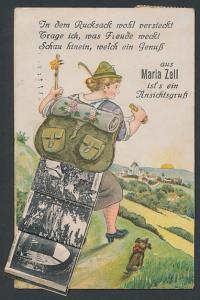 Leporello-AK Maria Zell, Wanderin mit Ansichten im Rucksack, Bürgeralpe, Erlaufsee, Ortsansicht