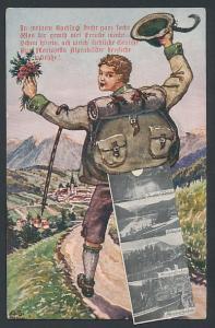 Leporello-AK Mariazell, Wanderer mit Ansichten im Rucksack, Gnadenkirche, Festspielhaus, Heiliger Brunnen