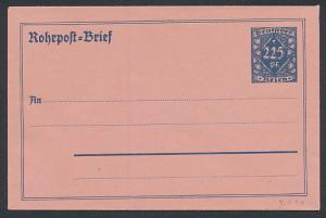 Briefumschlag Rohrpost-Brief, Ganzsache Deutsches Reich 225 Pf.