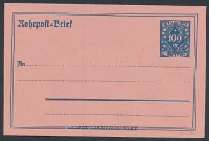 Briefumschlag Rohrpost-Brief, Ganzsache Deutsches Reich 100 M