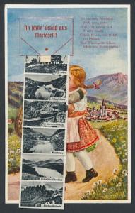 Leporello-AK Mariazell, Kleines Paar beim Abschiedskuss, Hauptplatz, Schwebebahn, Bürgeralpe
