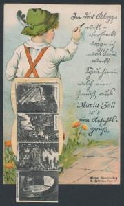 Leporello-AK Maria Zell, Knabe mit Ansichten hinterm Hosenboden, Bürgeralpe, Erlaufsee