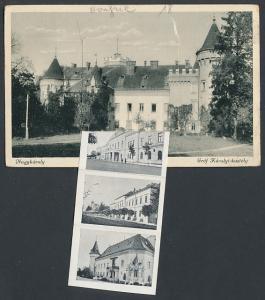Leporello-AK Nagykároly, Gróf Károlyi-kastély, Városháza, Ref. templom