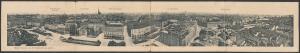 Klapp-AK Wien, Panorama von der Karlskirche aus gesehen, Künstlerhaus, Wr. Eislaufverein, Leuchtbrunne