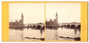 Stereo-Fotografie Fotograf unbekannt, Ansicht London, Westminster Bridge