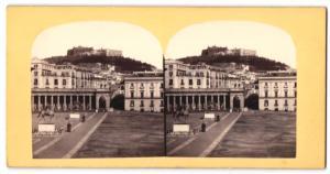 Stereo-Fotografie Fotograf unbekannt, Ansicht Neapel, Blick zum Castel Sant'Elmo
