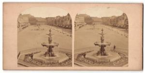 Stereo-Fotografie Fotograf unbekannt, Ansicht Fontainebleau, Platz mit Ladengeschäften
