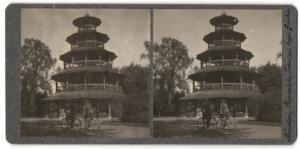 Stereo-Fotografie Fotograf unbekannt, Ansicht München, Pagode im Englischen Garten