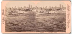 Stereo-Fotografie Jarvis, Washington D.C., Ansicht New York City, North River, Sky Scrapers of Lower New York