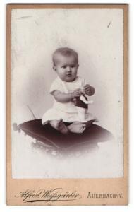 Fotografie Alfred Weissgärber, Auerbach i. V., Portrait bezauberndes Kleinkind mit Spielzeug